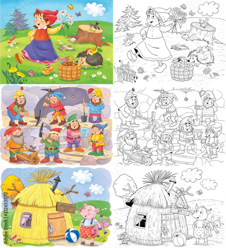 Little Red Riding Hood and others. Fairy tale. Coloring book ...