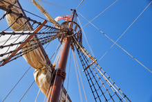 Mainsail Mast Of The Spanish Replica Of The Nao De Santa Maria