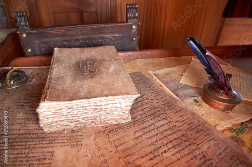 Fotografie, Obraz  Old sailboat desk