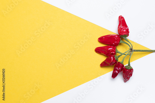 Fotografia, Obraz  red Pepper desing, Creative food. Yellow and white background