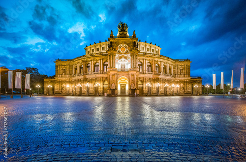 Dresden Semperoper with dramatic sky at twilight, Saxony, Germany - 212662057