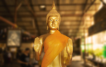 Buddhist Temple With Golden Buddha Vishnu Gods Statue - Phuket, Thailand