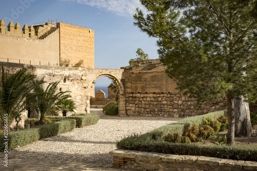 the arch beside the Aljibe Califal in the Alcazaba (castle) of Almeria city, Andalusia, Spain