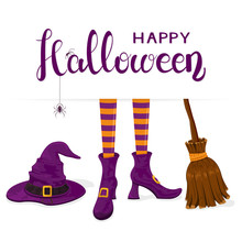 Text Happy Halloween With Witches Legs With Purple Hat And Broom