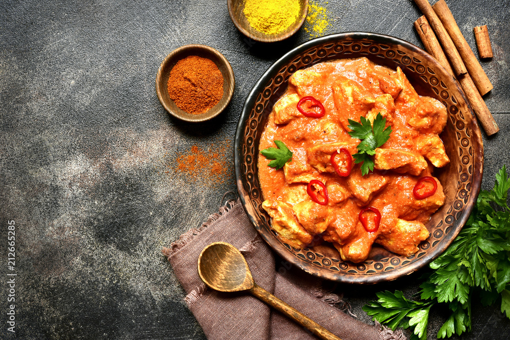 Fototapety, obrazy: Chicken tikka masala - traditional dish of indian cuisine.Top view.