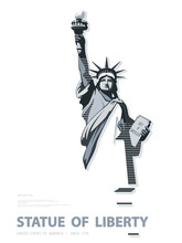 Statue Of Liberty USA, Poster. Creative Black-and-white Linear Drawing. National Symbol Of America.Illustration, White Background. Use Presentations,corporate Reports,text, Emblems,labels, Logo,vector