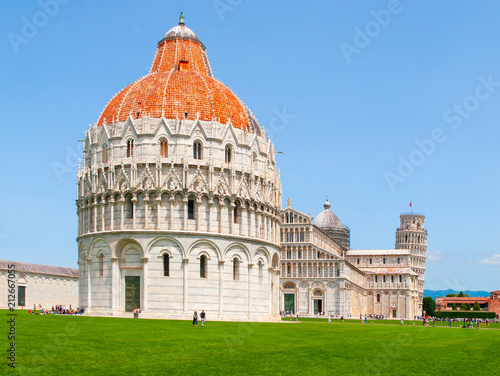 Poster Historisch geb. Pisa Baptistery of St. John, Battistero di San Giovanni, in Square of Miracles, Pisa, Tuscany, Italy. UNESCO World Heritage Site.