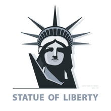 Portrait. Statue Of Liberty USA, Poster. Black And White Linear Image. New York. Symbol Of America. Illustration, White Background. Use Presentations, Corporate Reports, Emblems, Labels, Logos, Vector