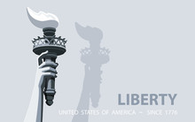 Hand With Torch Independence Day. Black And White Linear Picture. USA. Poster. Statue Of Liberty. Symbol America.Illustration Gray Background. Use Presentation, Report, Postcard,flat Banner, Vector