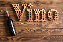 Vino Lettering Made Of Corks With Bottle