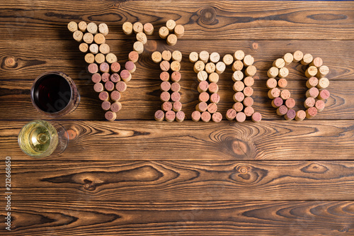 ab2bde8ed7b52c Vino lettering made of corks with wine glasses - Buy this stock ...