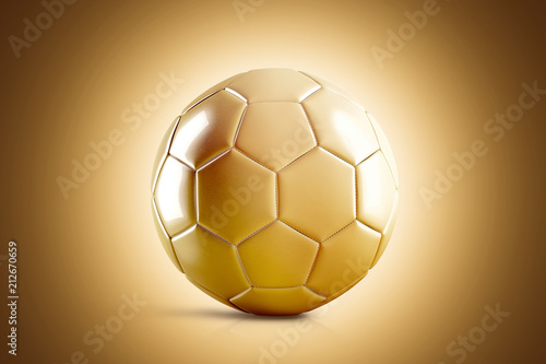 Photo  Blank golden soccer ball mock up, front view, 3d rendering