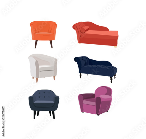 Fotografija chairs and chaise lounge vector illustration