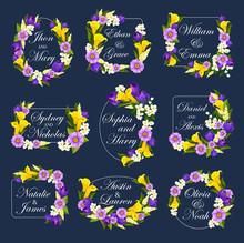 Vector Flowers Frames For Wedd...