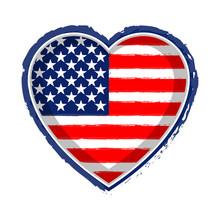 Heart Shaped Flag Of United States