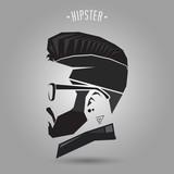 Fototapeta Sport - hipster vintage hair style on gtay background