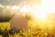 Image Of Vintage House In The Grass, Garden, Forest Or Park At Sun Light.
