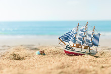 Ship Model On Summer Sunny Bea...