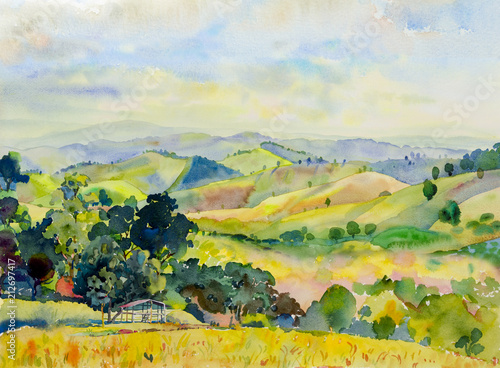 Poster de jardin Orange Watercolor landscape painting of mountain range with cottage.