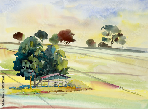 Fotobehang Zwavel geel Watercolor landscape painting of cornfield with cottage.