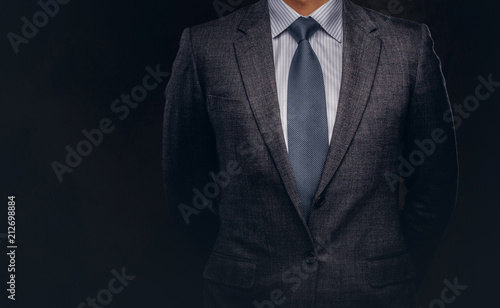 Obraz Cropped portrait of a successful businessman dressed in an elegant formal suit. - fototapety do salonu