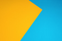 Top View Of Blue And Yellow Surface With Tiny White Polka Dot Pattern For Background