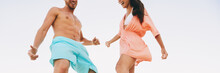 Dancing People At Beach Party Summer Fun. Young Dancers People Lifestyle Doing Salsa Moves In Swimwear. Couple Enjoying Vacation Banner Panorama.
