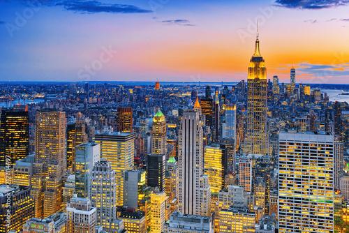 Keuken foto achterwand Verenigde Staten Night view of Manhattan from the skyscraper's observation deck. New York.