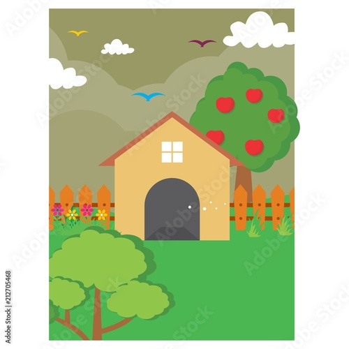 Poster Ranch back yard home house apple tree scenery landscape background