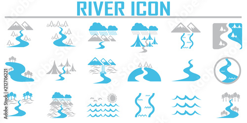 Obraz River  and Landscape icons. - fototapety do salonu