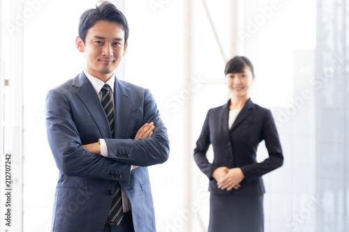 Deurstickers Wanddecoratie met eigen foto portrait of asian businessgroup in office