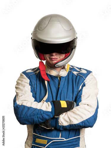 Fotografia Professional formula pilot wearing a racing suit for motor sports