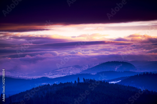 Poster Bordeaux Winter landscape in Carpathian Mountains at the sunrise