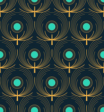 Stylized Peacocks Feathers Seamless Pattern In Gold And Blue