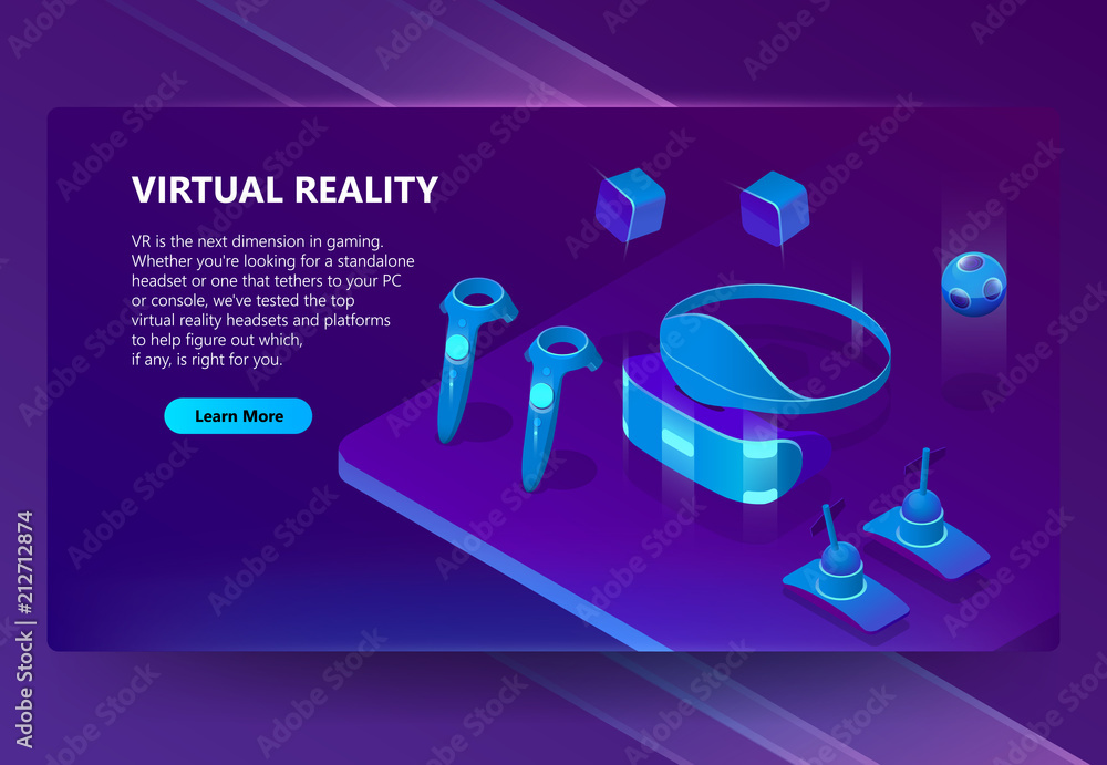 Fototapeta VR, augmented reality vector isometric concept background. Gadgets for cyberspace and gaming, headset and glasses, manipulators. Futuristic web banner for site with button and space for text