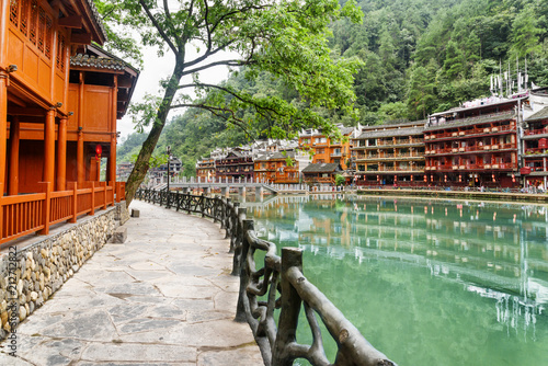 Embankment of the Tuojiang River. Traditional Chinese buildings