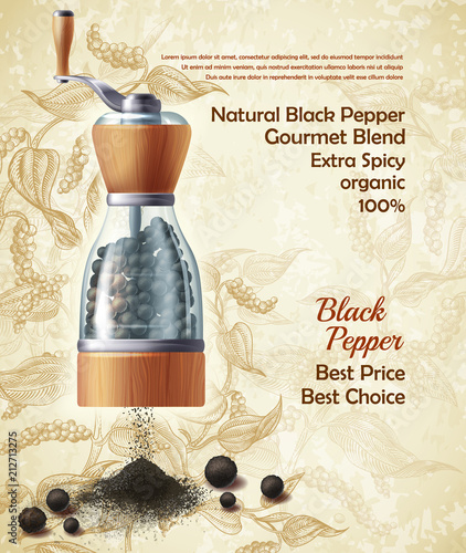 Vector banner with pepper mill, filled with black peppercorns on textured background Canvas Print