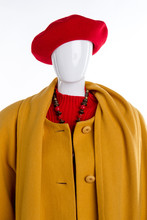 Portrait Of Mannequin With Winter Coat And Hat. Front View. White Isolated Background.