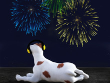3D Rendering Of Dog Wearing Hearing Protection Looking At Fireworks.
