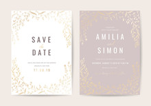 Luxury Wedding Invitation Card With Gold Flower And Leaf Pattern Vector Design Template