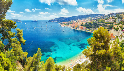 Nice, Cote d'Azure, South coast of France, Europe. View on town Nice coastline, luxury summer resort in France.