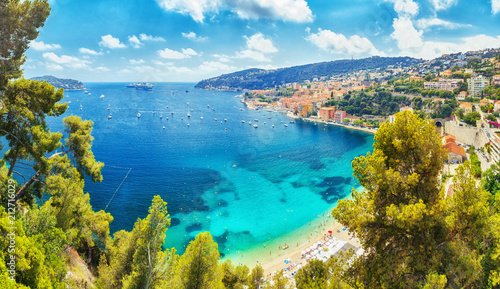 Acrylic Prints Nice Nice, Cote d'Azure, South coast of France, Europe. View on town Nice coastline, luxury summer resort in France.