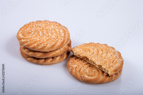 Fotobehang Koekjes Several cookies isolated on white background