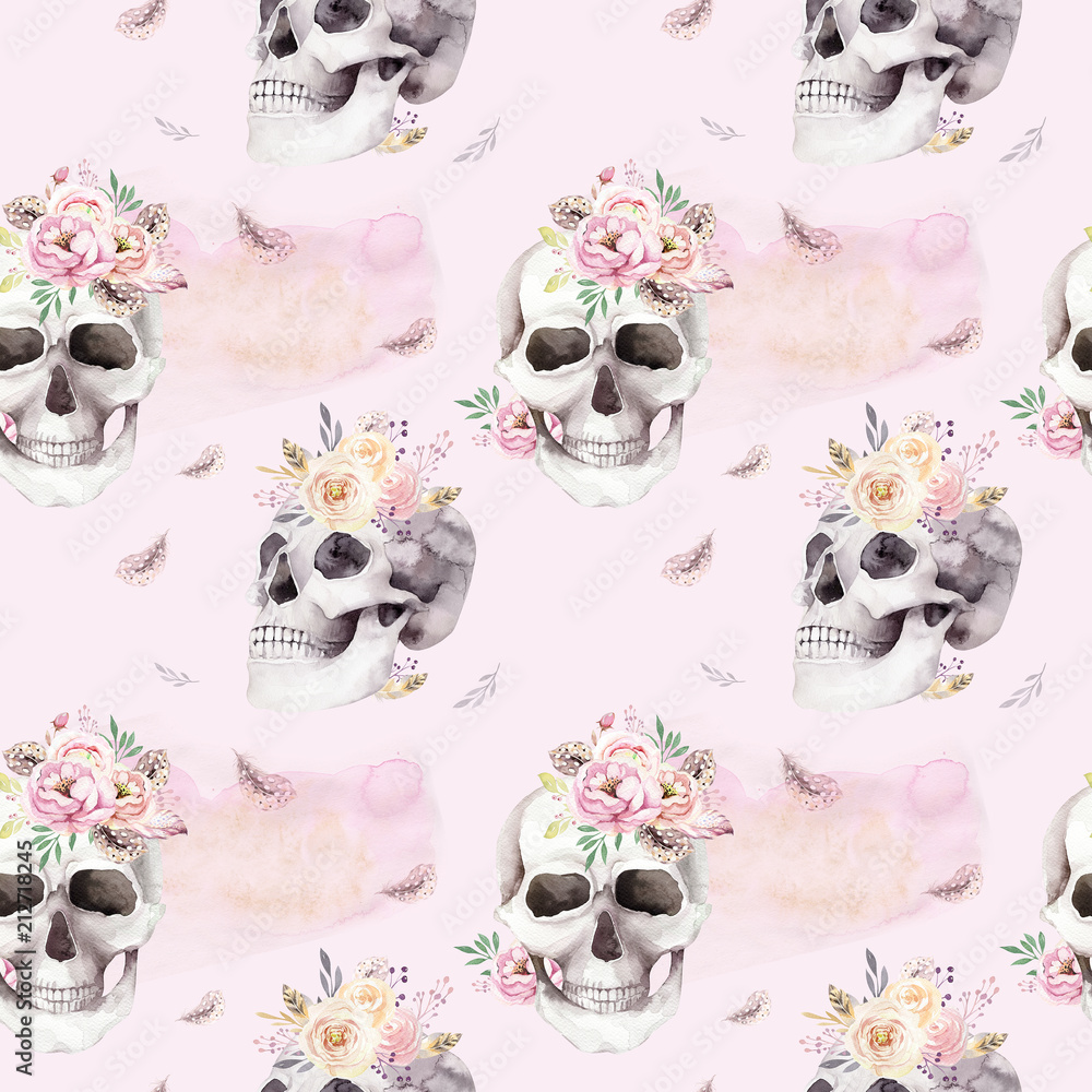 Wall Murals Vintage Watercolor Patterns With Skull And Roses
