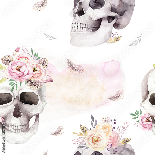 Printed kitchen splashbacks Watercolor skull Vintage watercolor patterns with skull and roses, wildflowers, Hand drawn illustration in boho style. Floral skull wallpaper, Day of The Dead