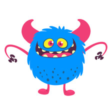 Happy Cartoon Monster. Vector Halloween Illustration