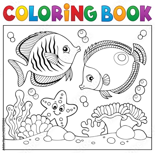 Coloring book sea life theme 5 Poster