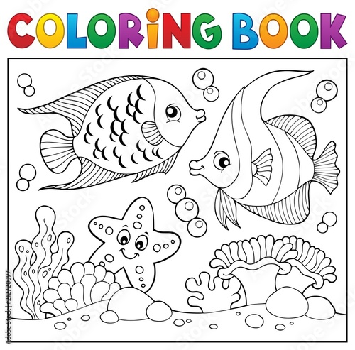 Door stickers For Kids Coloring book sea life theme 6
