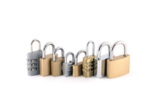 Security Concept With Set Of Different Size Metal Padlocks
