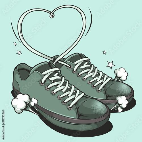 Hand drawn Sneakers, graphic vector illustration. © kirkchai